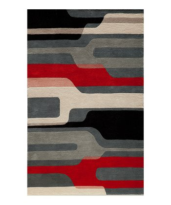 Black Modern Gallery Wool Rug