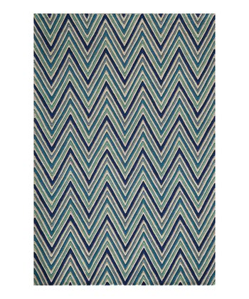 Blue Zigzag Wool Rug