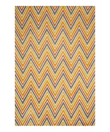 Red Zigzag Wool Rug