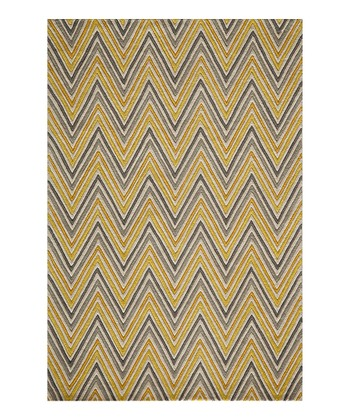 Yellow Zigzag Wool Rug
