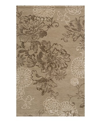 Light Taupe Ornate Floral Wool Rug