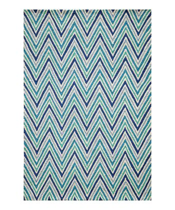 Bright Blue Zigzag Rug