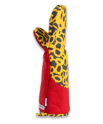 Red Honeycomb Oven Mitt - Adult