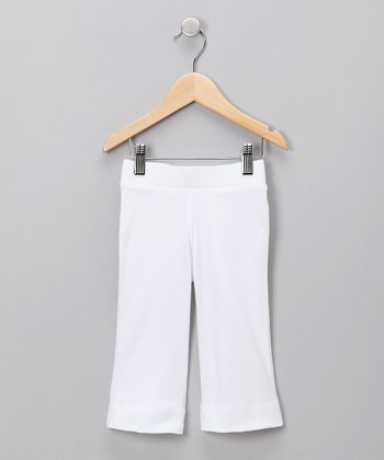 White Flared Capri Pants - Toddler & Girls