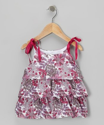 Fuchsia Fall Floral Tiered Tie-Strap Top - Toddler & Girls