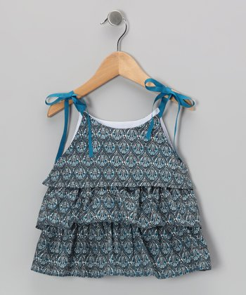 Turquoise Tiered Tie-Strap Top - Toddler & Girls