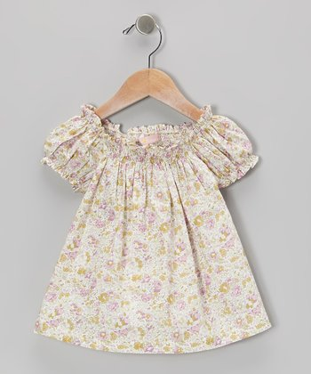Pink & Green Bluna Floral Puff-Sleeve Dress - Toddler & Girls