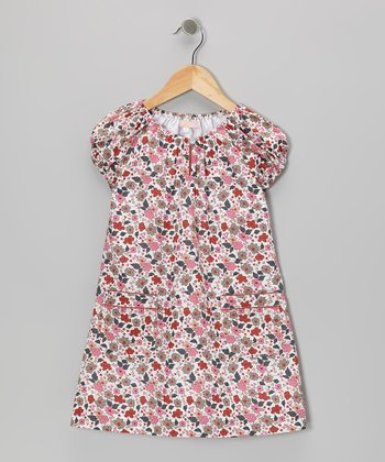 Pink Flower Pichi Peasant Dress - Toddler & Girls