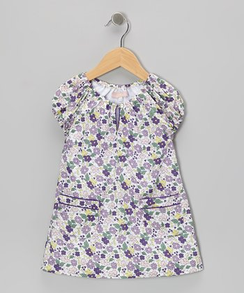 Purple & Green Floral Pichi Peasant Dress - Toddler & Girls