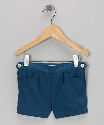 Blue Button Shorts - Toddler & Girls