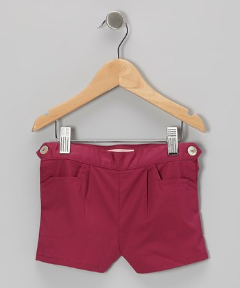 Burgundy Button Shorts - Toddler & Girls