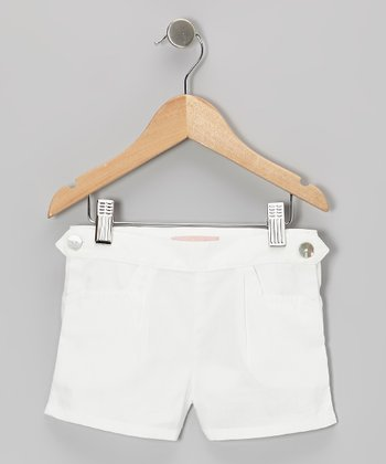 White Button Shorts - Toddler & Girls
