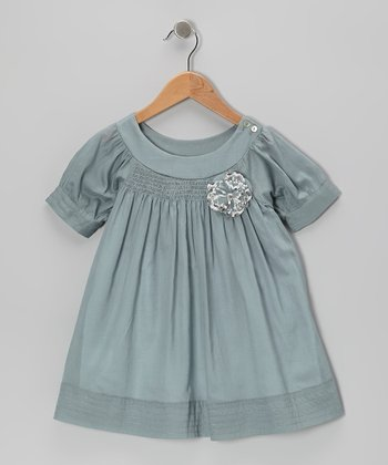 Blue Embellished Swing Dress - Toddler & Girls