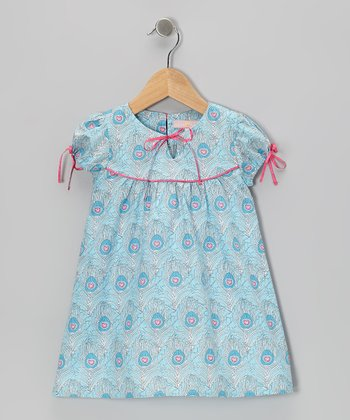 Blue Feather Cap-Sleeve Dress - Toddler & Girls