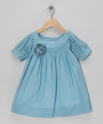 Turquoise Embellished Swing Dress - Toddler & Girls