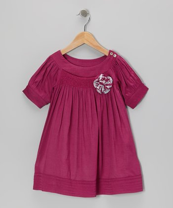 Fuchsia Embellished Swing Dress - Toddler & Girls