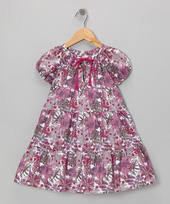 Dark Purple Floral Peasant Dress - Toddler & Girls
