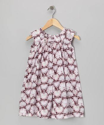 Burgundy Dandelion Shift Dress - Toddler & Girls