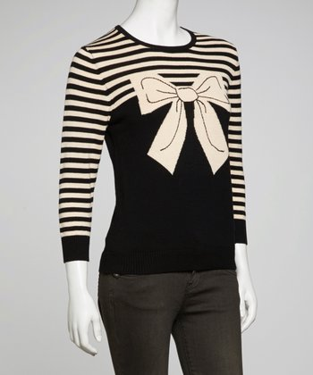 Black & Beige Stripe Bow Top