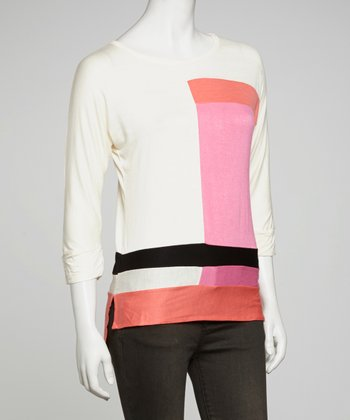 Ivory & Fuchsia Color Block Hi-Low Top