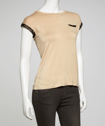 Beige Embellished Cap-Sleeve Top