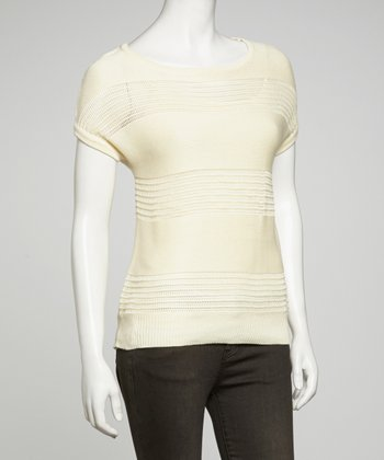 Ivory Stripe Lightweight Knit Top