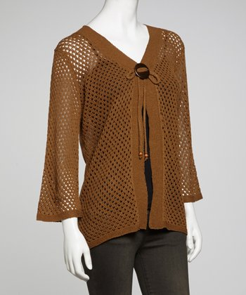 Brown Tie-Front Lightweight Knit Cardigan