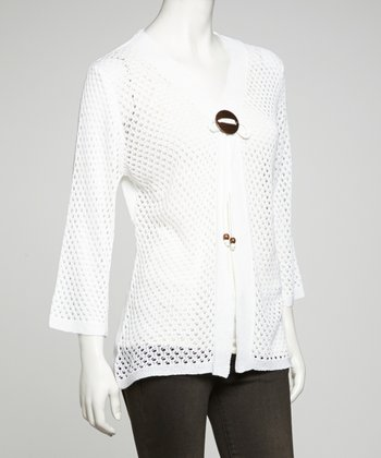 White Tie-Front Lightweight Knit Cardigan