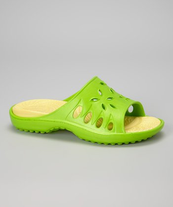 NothinZ Lime & Yellow Caribbean Slide - Women