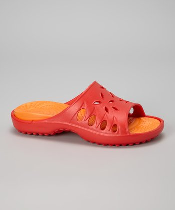 NothinZ Red & Orange Caribbean Slide - Women