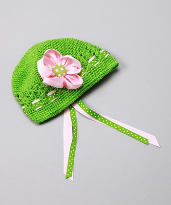 Green & Light Pink Fancy Flower Hat