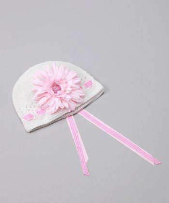 White & Pink Gingham Garden Hat