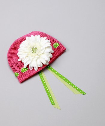 Pink & Green Polka Dot Flower Beanie