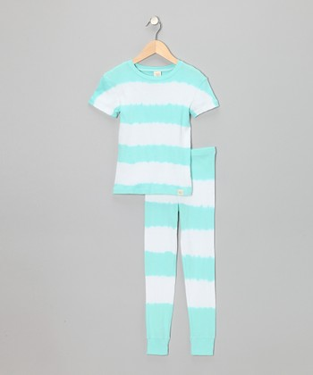 Blue Stripe Pajama Set - Girls