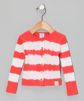Red Tie-Dye Stripe Cardigan - Infant, Toddler & Girls