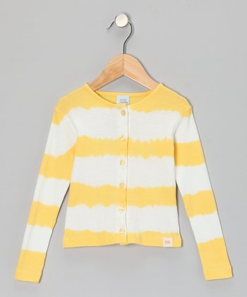Yellow Tie-Dye Stripe Cardigan - Infant, Toddler & Girls