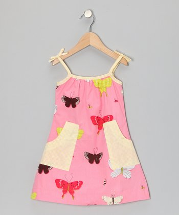 Pink Butterfly Pocket Tie Dress - Toddler & Girls