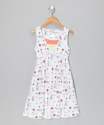 White Barbecue Tank Dress - Girls