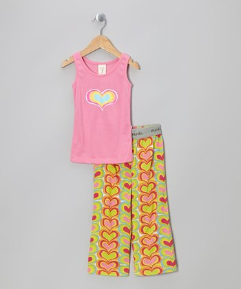 Pink Rainbow Heart Tank Pajama Set - Infant & Toddler