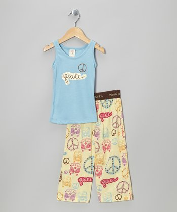 Blue Retro Bus Tank Pajama Set - Infant & Toddler