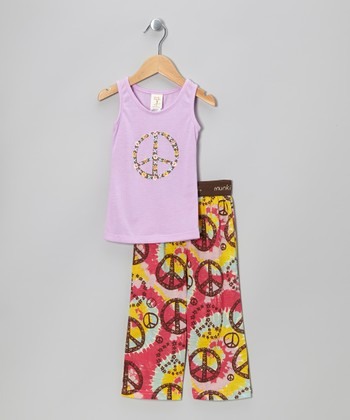Purple Peace Sign Pajama Set - Infant, Toddler & Girls