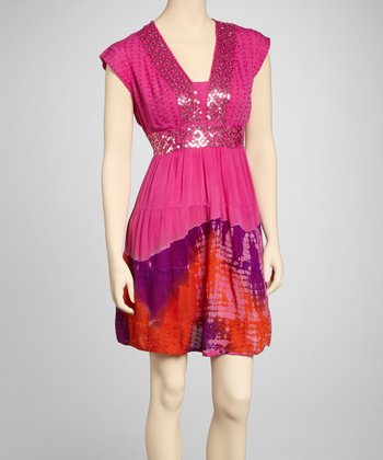 Pink & Orange Tie-Dye Sequin Dress