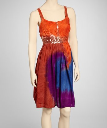 Blue & Orange Sequin Tie-Dye Dress - Women