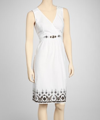 White Sequin Embroidered Surplice Dress - Women