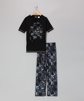 Black Skull Pajama Set - Kids