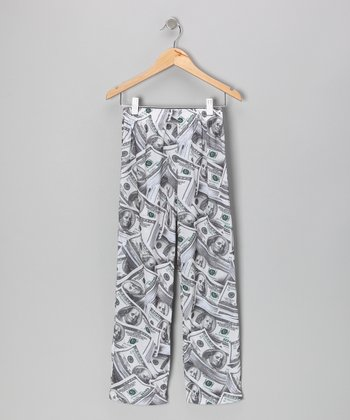 Tan Dollar Bill Pajama Pants - Kids