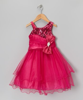 Fuchsia Sequin Bow Dress & Shawl - Toddler & Girls