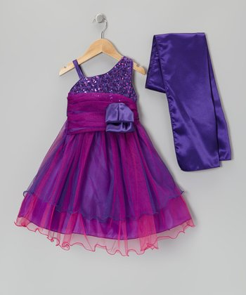 Purple Sequin Bow Dress & Shawl - Toddler & Girls