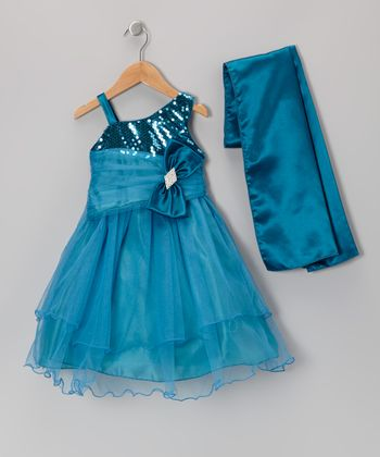 Teal Sequin Bow Dress & Shawl - Toddler & Girls