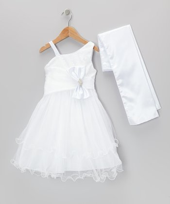 White Sequin Bow Dress & Shawl - Toddler & Girls